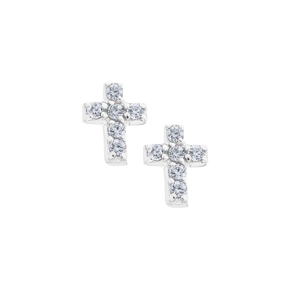 Crystal Cross Baby Earrings in Sterling Silver with Safety Backs