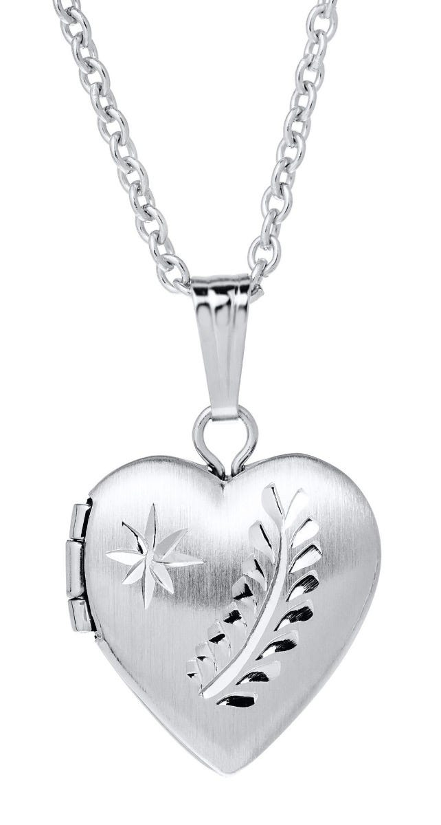 Heart Baby Locket Necklace in Sterling Silver