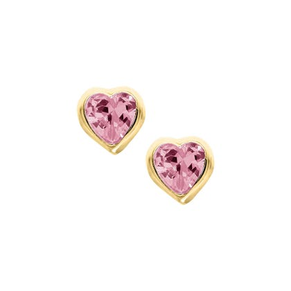 Pink Crystal Baby Earrings In 14k Yellow Gold With Safety Backs