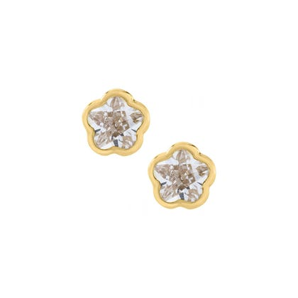 Flower Crystal Cross Baby Earrings In 14k Yellow Gold With Safety Backs