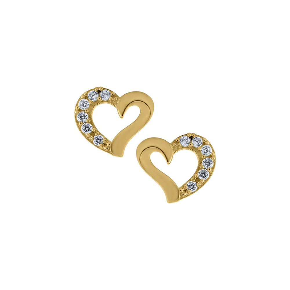 Open Heart Crystal Cross Baby Earrings in 14k Yellow Gold with Safety Backs