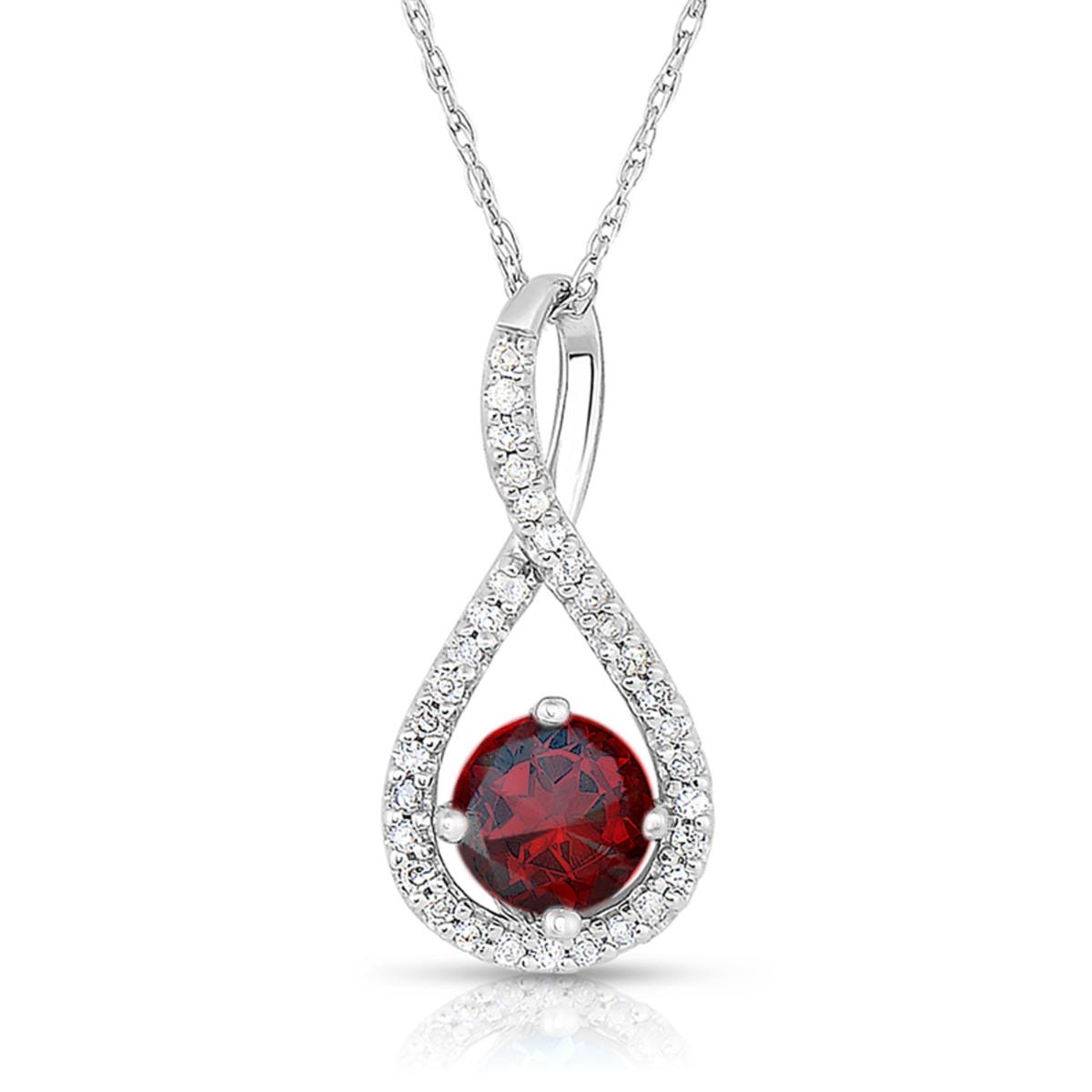 Garnet & Diamond Infinity Drop Pendant in Sterling Silver