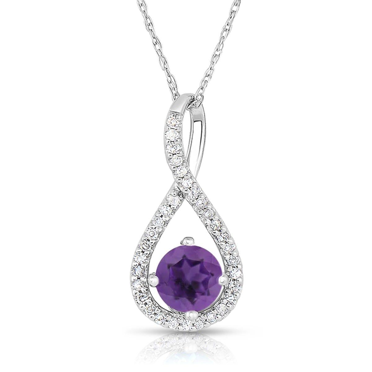 Amethyst & Diamond Infinity Drop Pendant in Sterling Silver