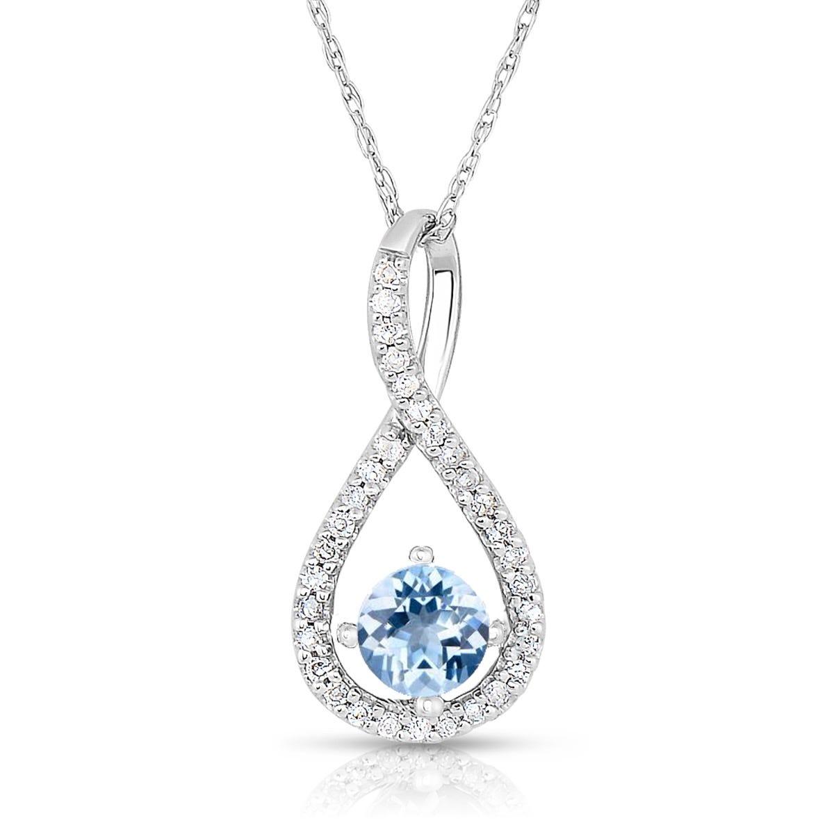 Aquamarine & Diamond Infinity Drop Pendant in Sterling Silver