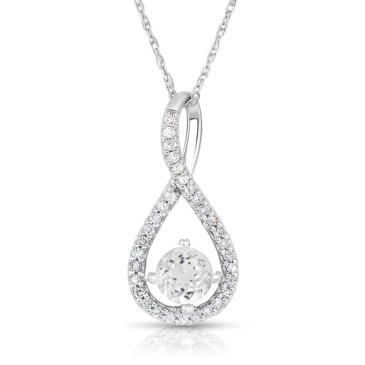 White Topaz & Diamond Infinity Drop Pendant in Sterling Silver