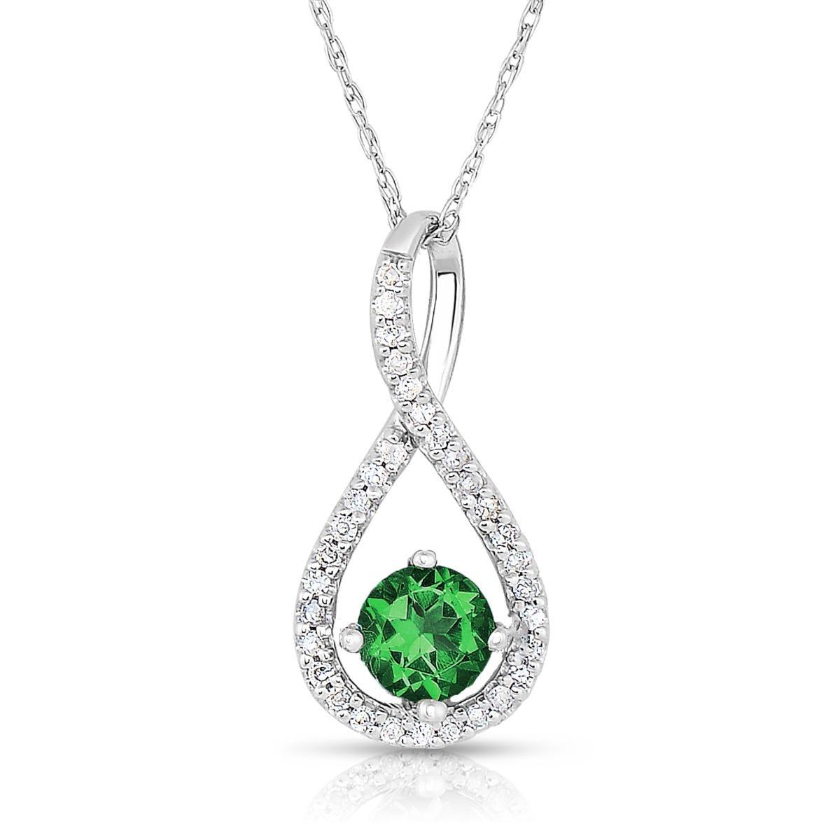 Emerald & Diamond Infinity Drop Pendant in Sterling Silver