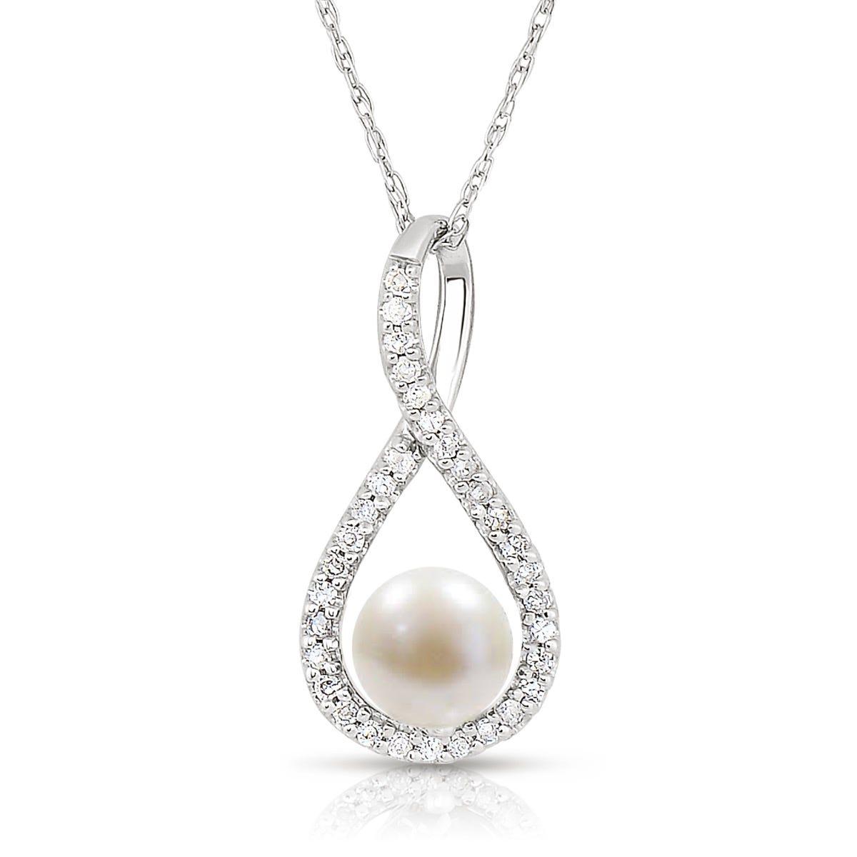 Pearl & Diamond Infinity Drop Pendant in Sterling Silver
