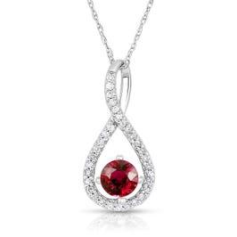 Ruby & Diamond Infinity Drop Pendant in Sterling Silver
