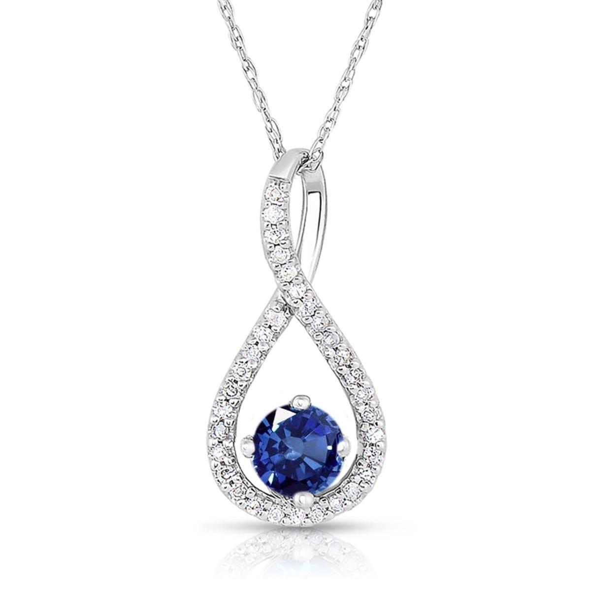 Sapphire & Diamond Infinity Drop Pendant in Sterling Silver