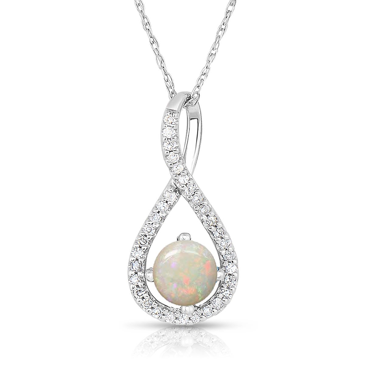 Opal & Diamond Infinity Drop Pendant in Sterling Silver