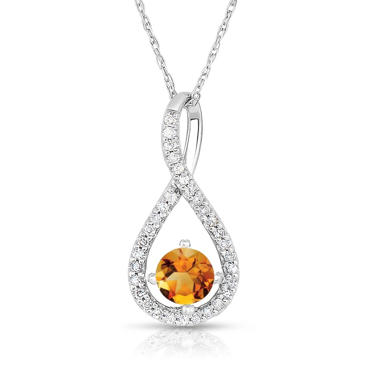 Citrine & Diamond Infinity Drop Pendant in Sterling Silver