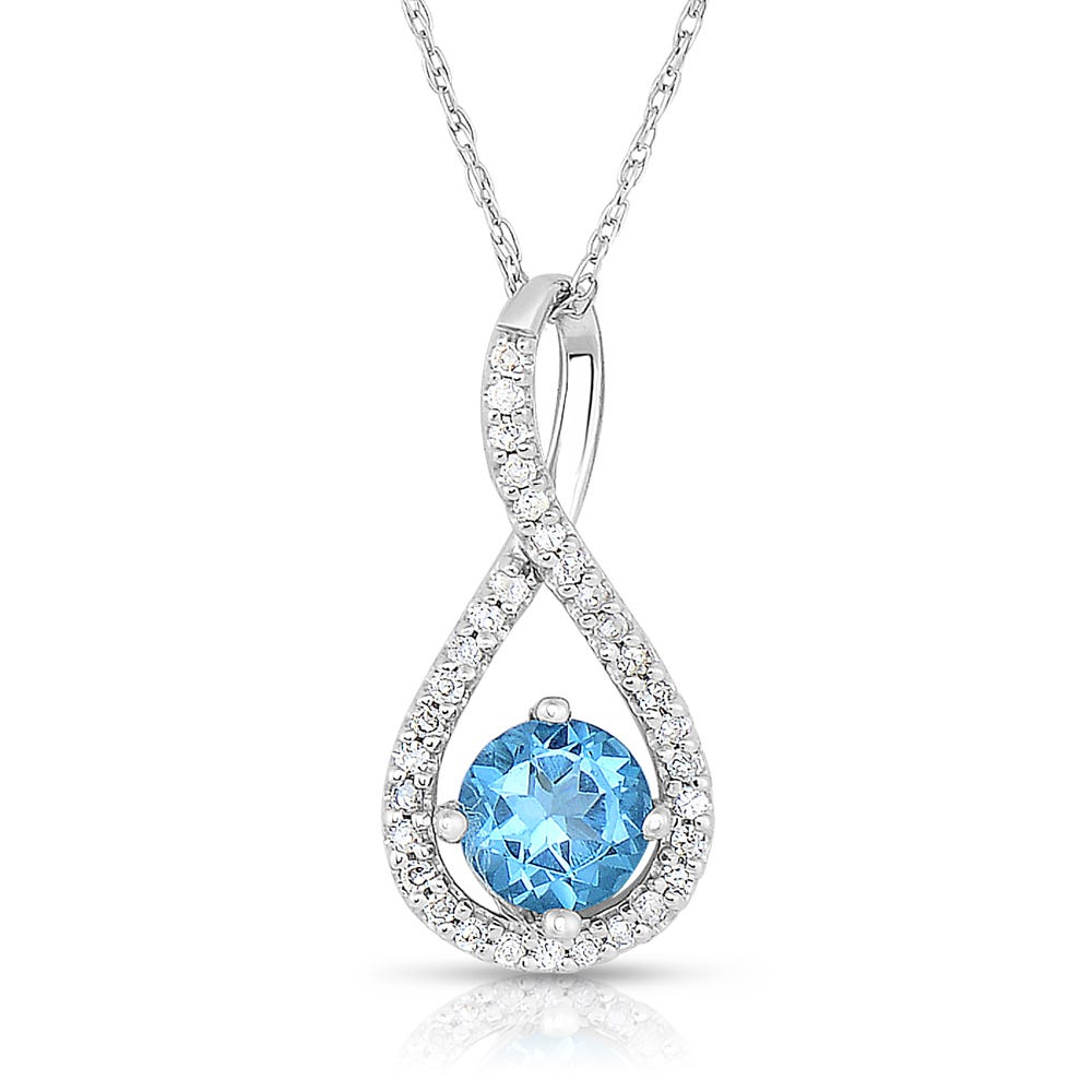 Blue Topaz & Diamond Infinity Drop Pendant in Sterling Silver