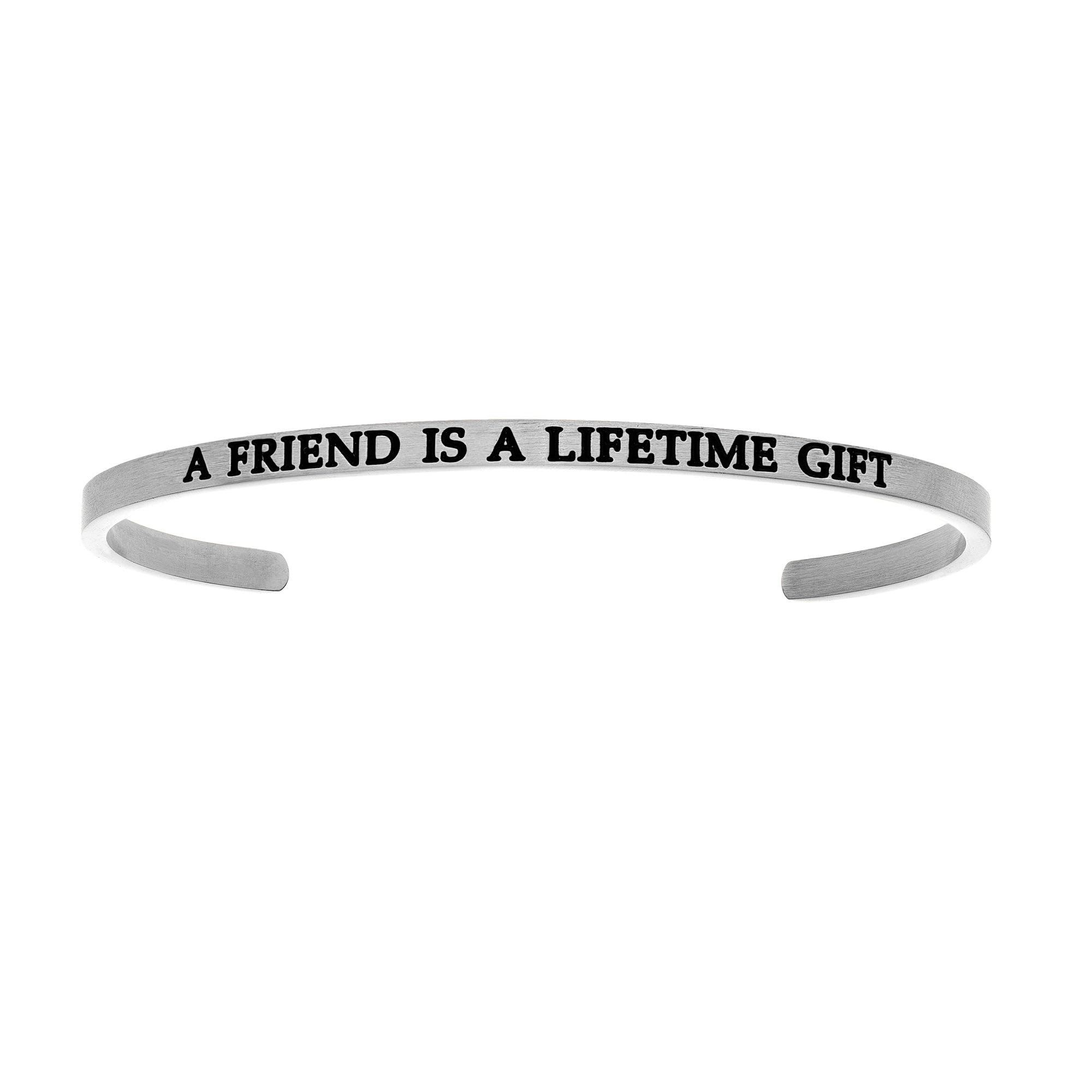 A Friend Is A Lifetime. Intuitions Cuff Bracelet in White Stainless Steel