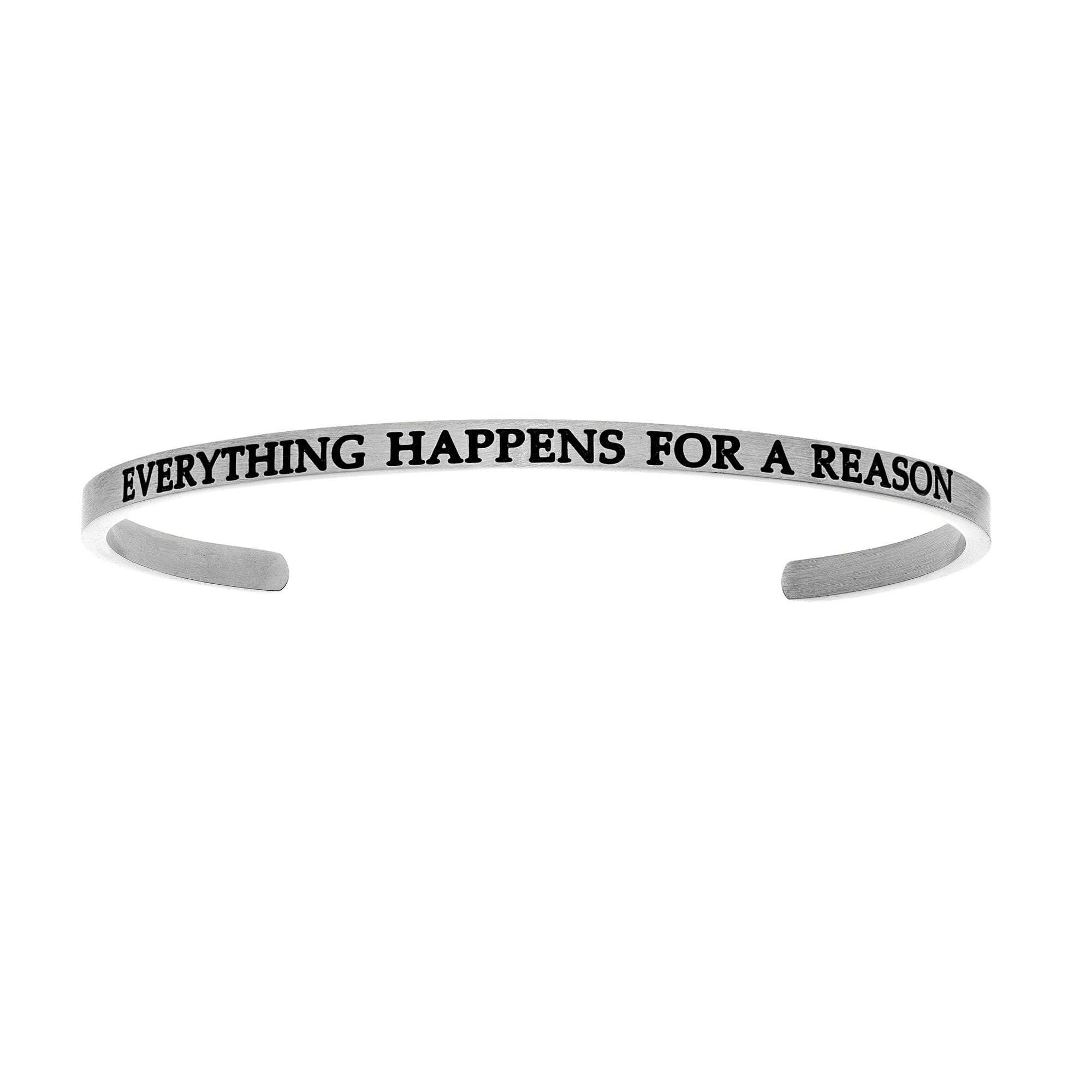 Everything Happens For A Reason. Intuitions Cuff Bracelet in White Stainless Steel