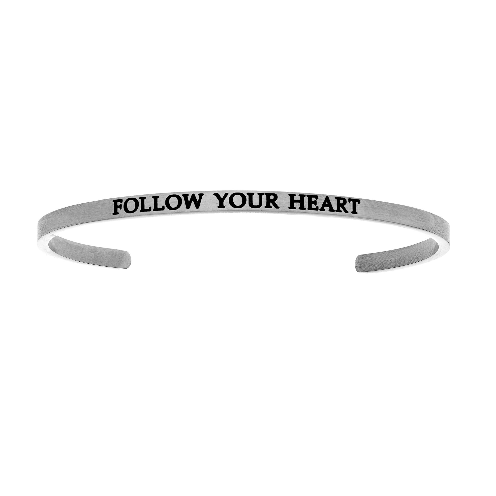 Follow Your Heart. Intuitions Cuff Bracelet in White Stainless Steel