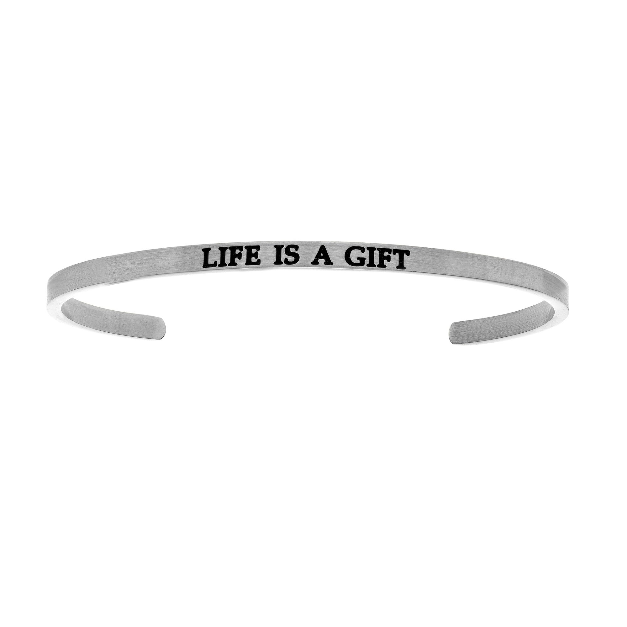 Life Is A Gift. Intuitions Cuff Bracelet in White Stainless Steel