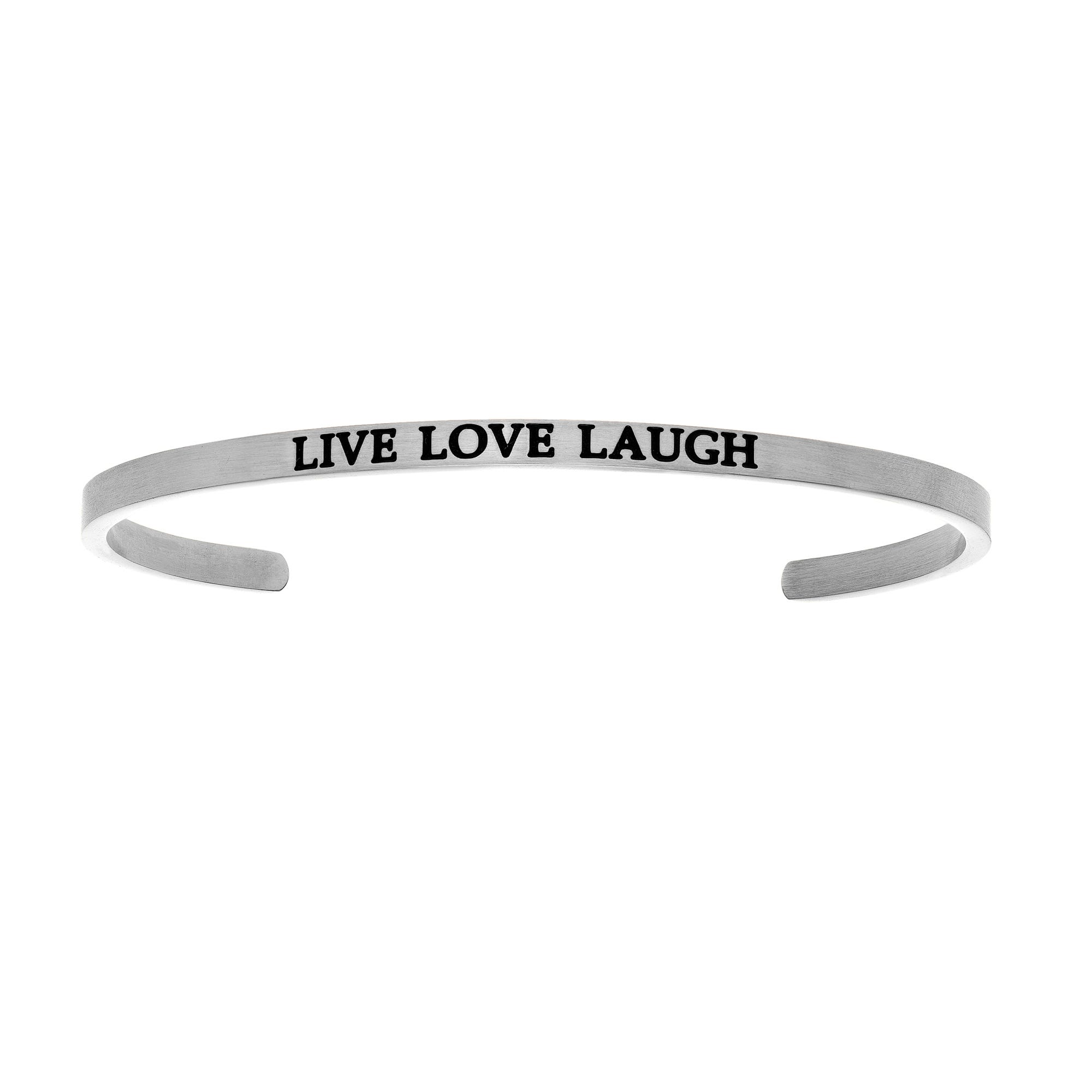 Live, Love, Laugh. Intuitions Cuff Bracelet in White Stainless Steel