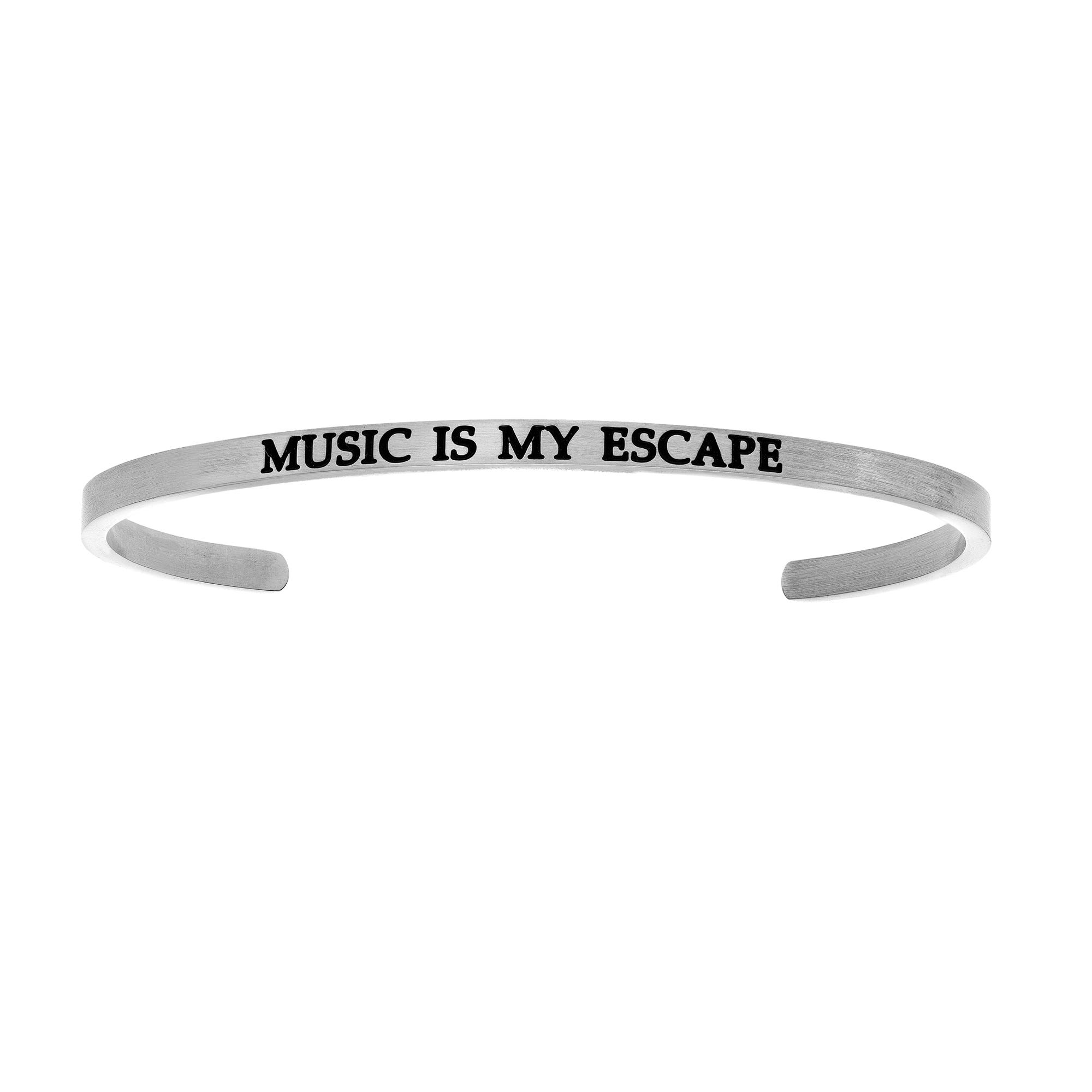 Music Is My Escape. Intuitions Cuff Bracelet in White Stainless Steel
