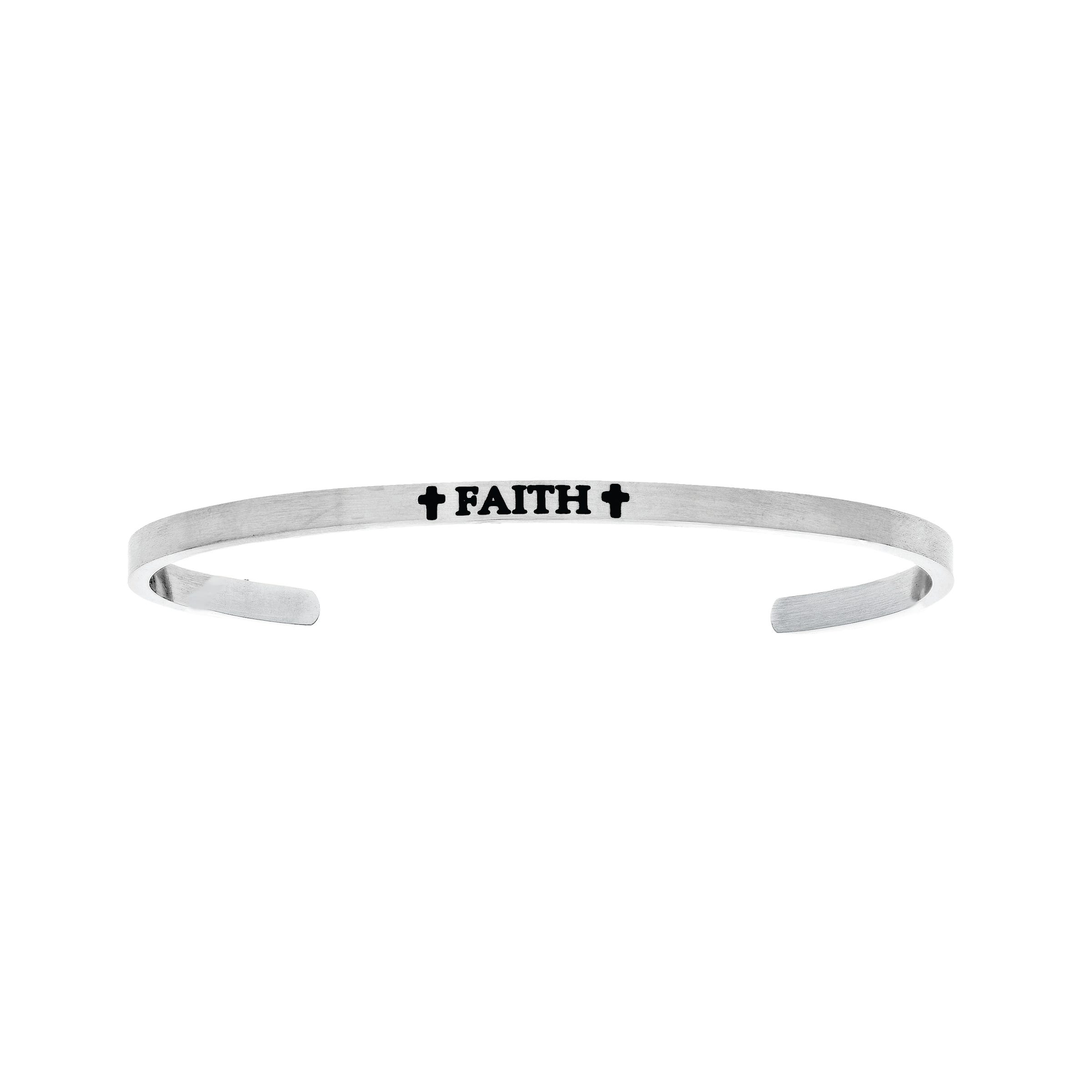 Faith. Intuitions Cuff Bracelet in White Stainless Steel