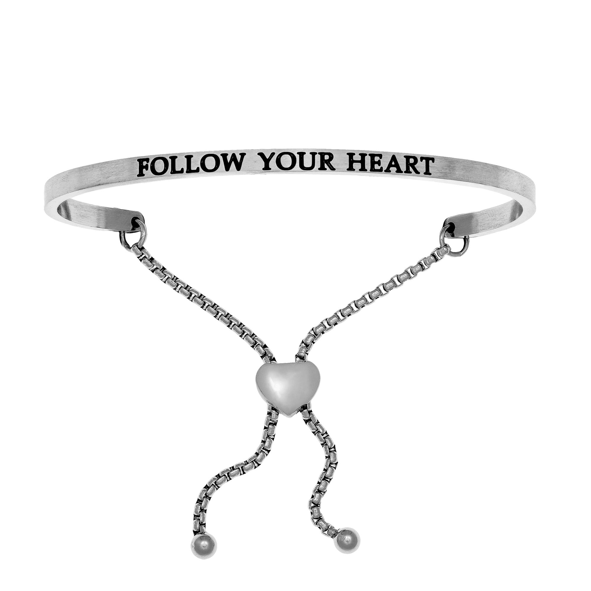 Follow Your Heart. Intuitions Bolo Bracelet in White Stainless Steel