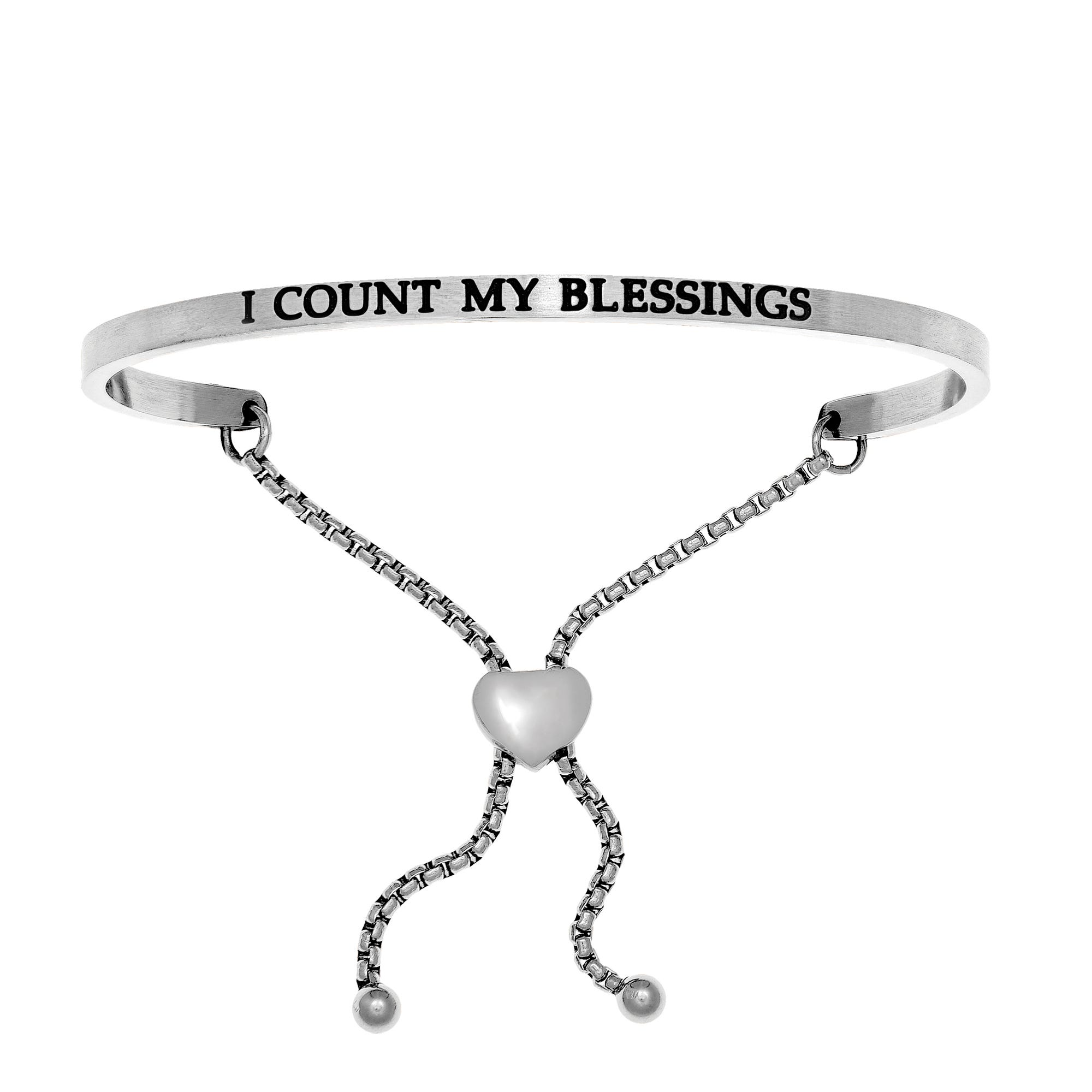 I Count My Blessings. Intuitions Bolo Bracelet in White Stainless Steel