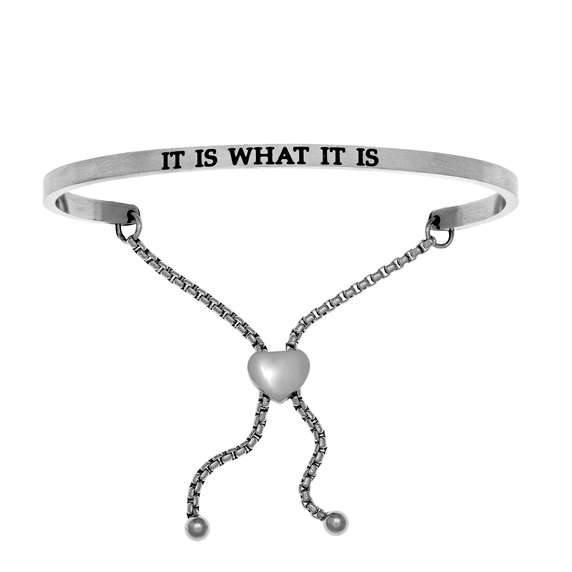 It Is What It Is. Intuitions Bolo Bracelet in White Stainless Steel