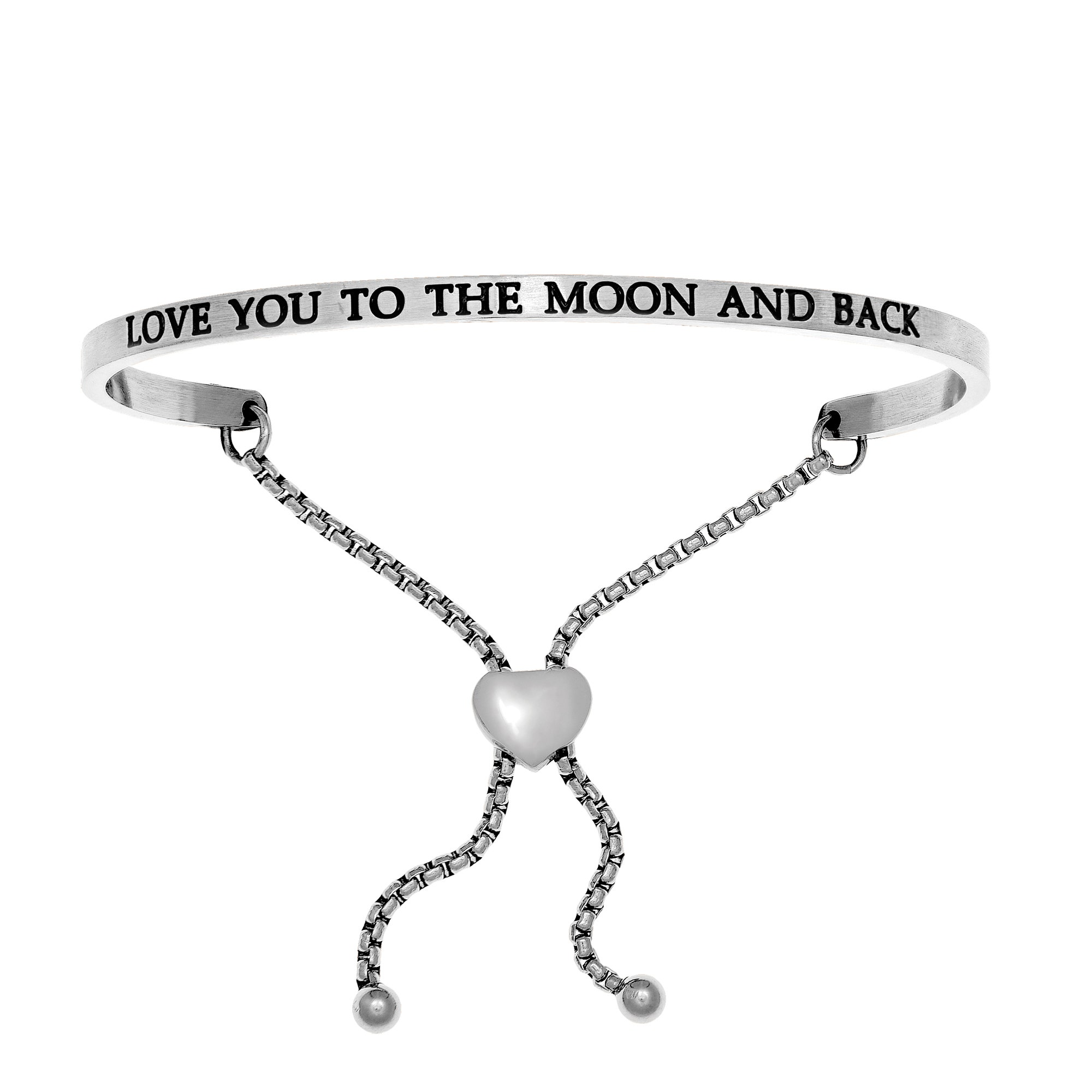 I Love You to the Moon and Back Bolo Bracelet 925 Sterling Silver Adjustable NEW