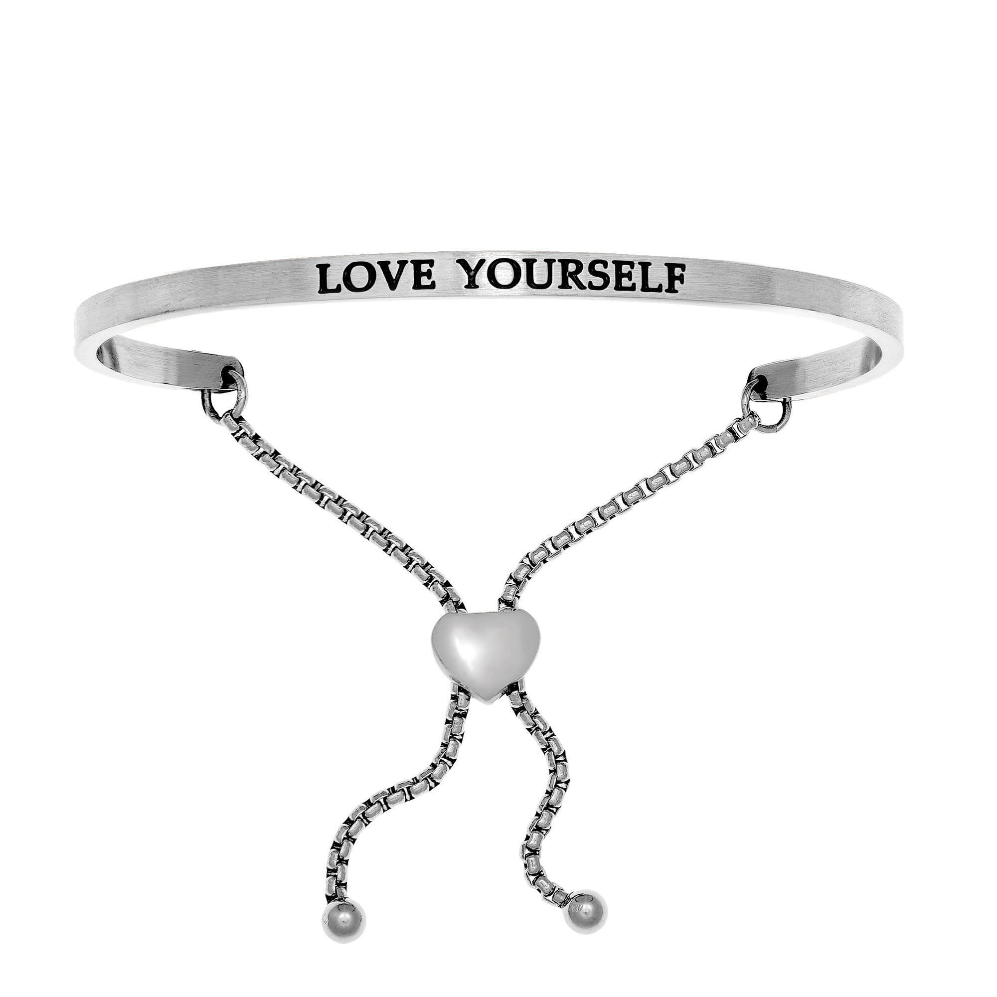 Love Yourself. Intuitions Bolo Bracelet in White Stainless Steel