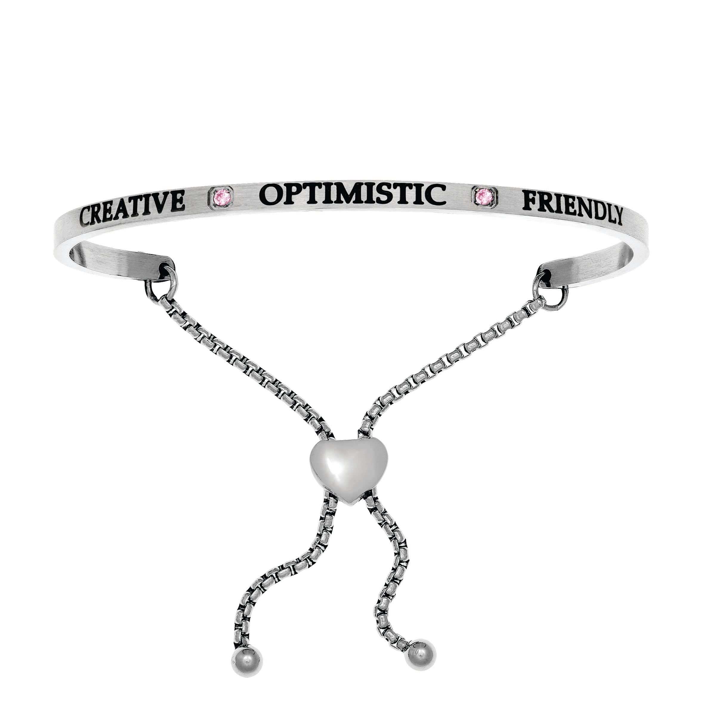 Creative & Optimistic October. Intuitions Bolo Bracelet in White Stainless Steel