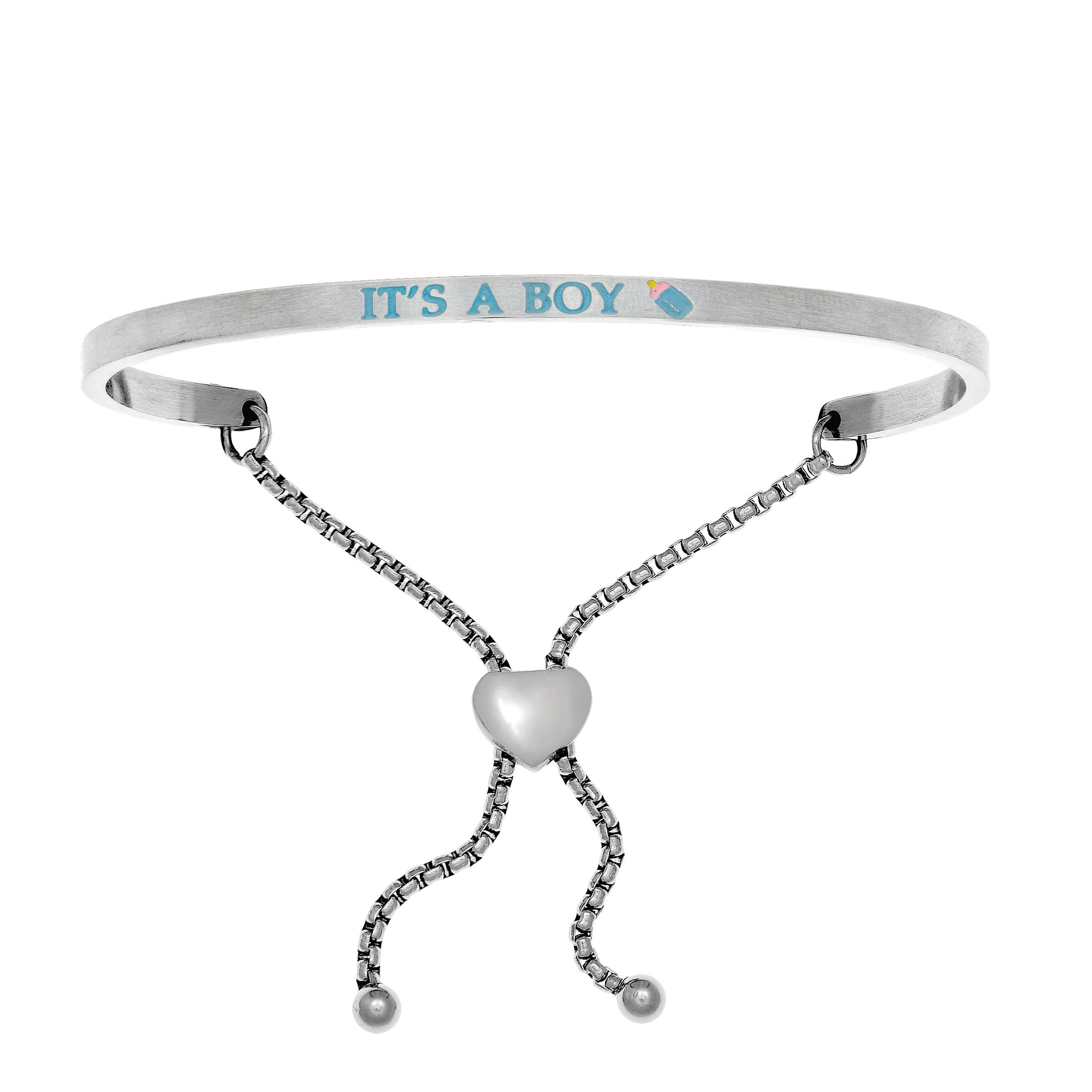 It's A Boy. Intuitions Bolo Bracelet in White Stainless Steel