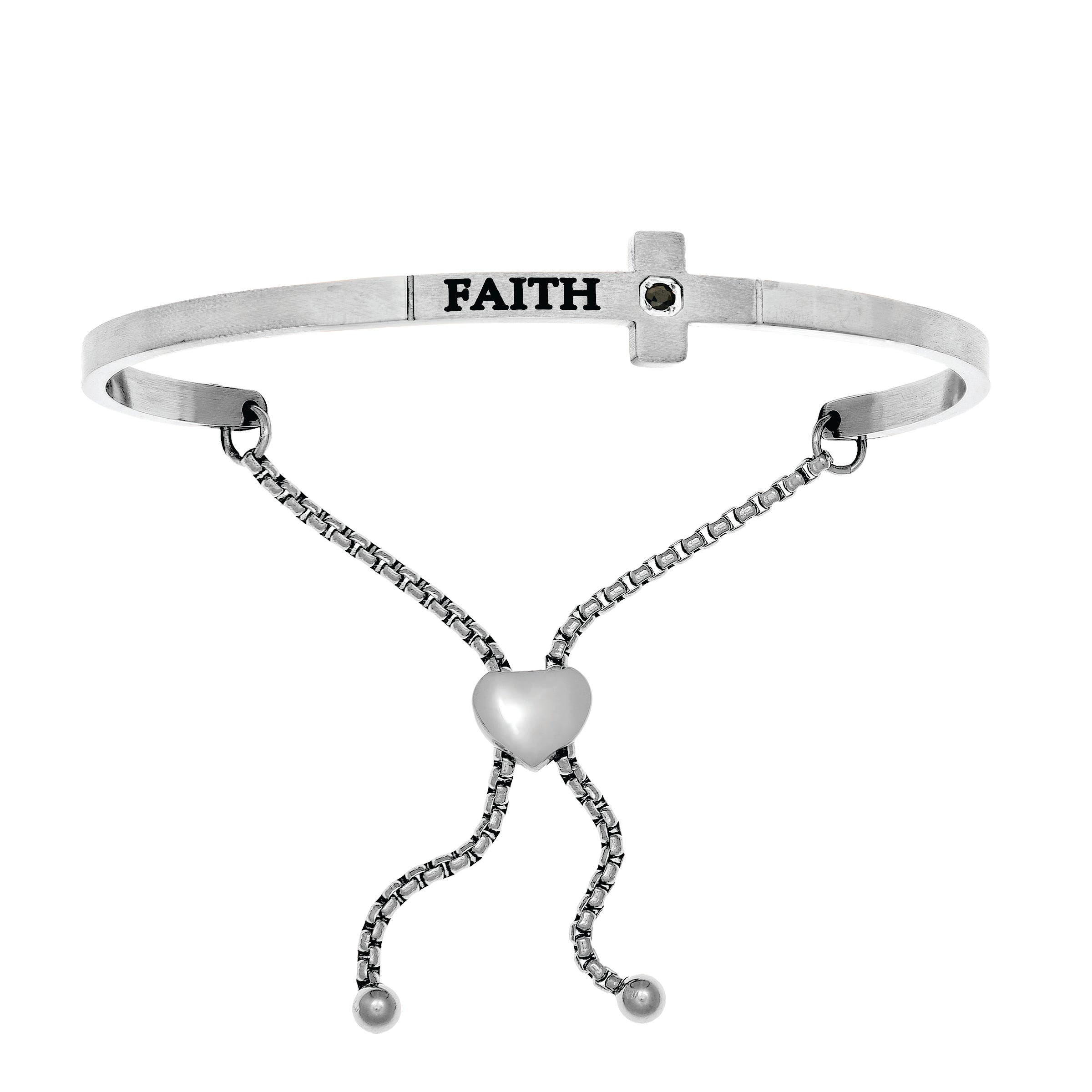 Faith. Diamond Intuitions Bolo Bracelet in White Stainless Steel