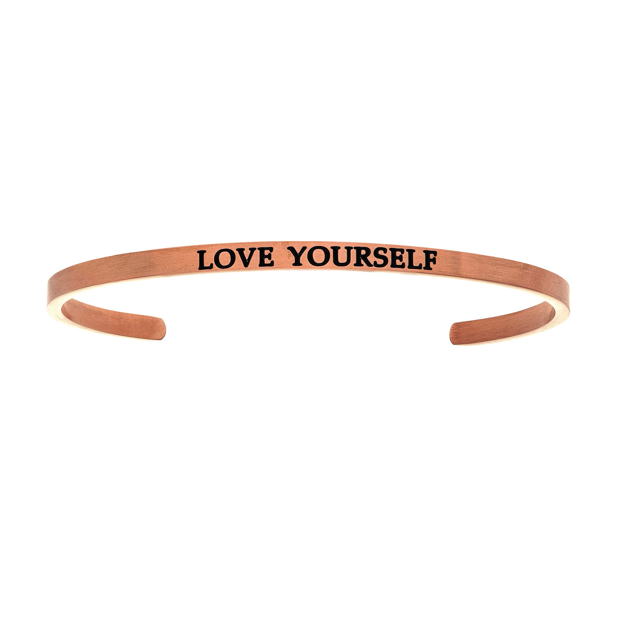Love Yourself. Intuitions Cuff Bracelet in Pink Stainless Steel