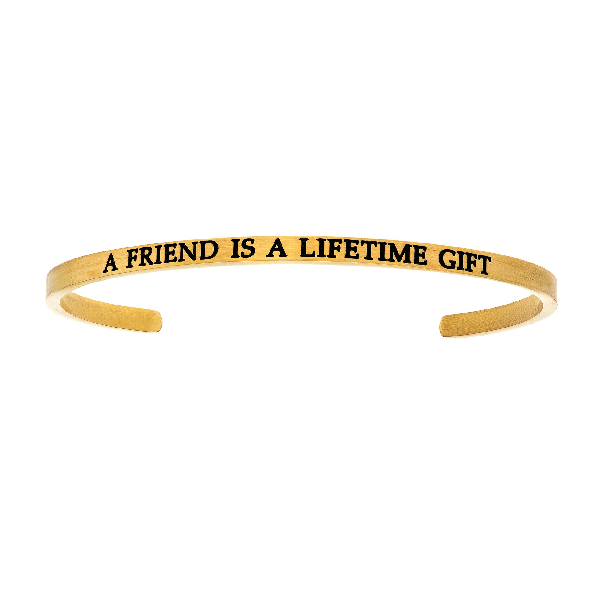 A Friend Is A Lifetime. Intuitions Cuff Bracelet in Yellow Stainless Steel