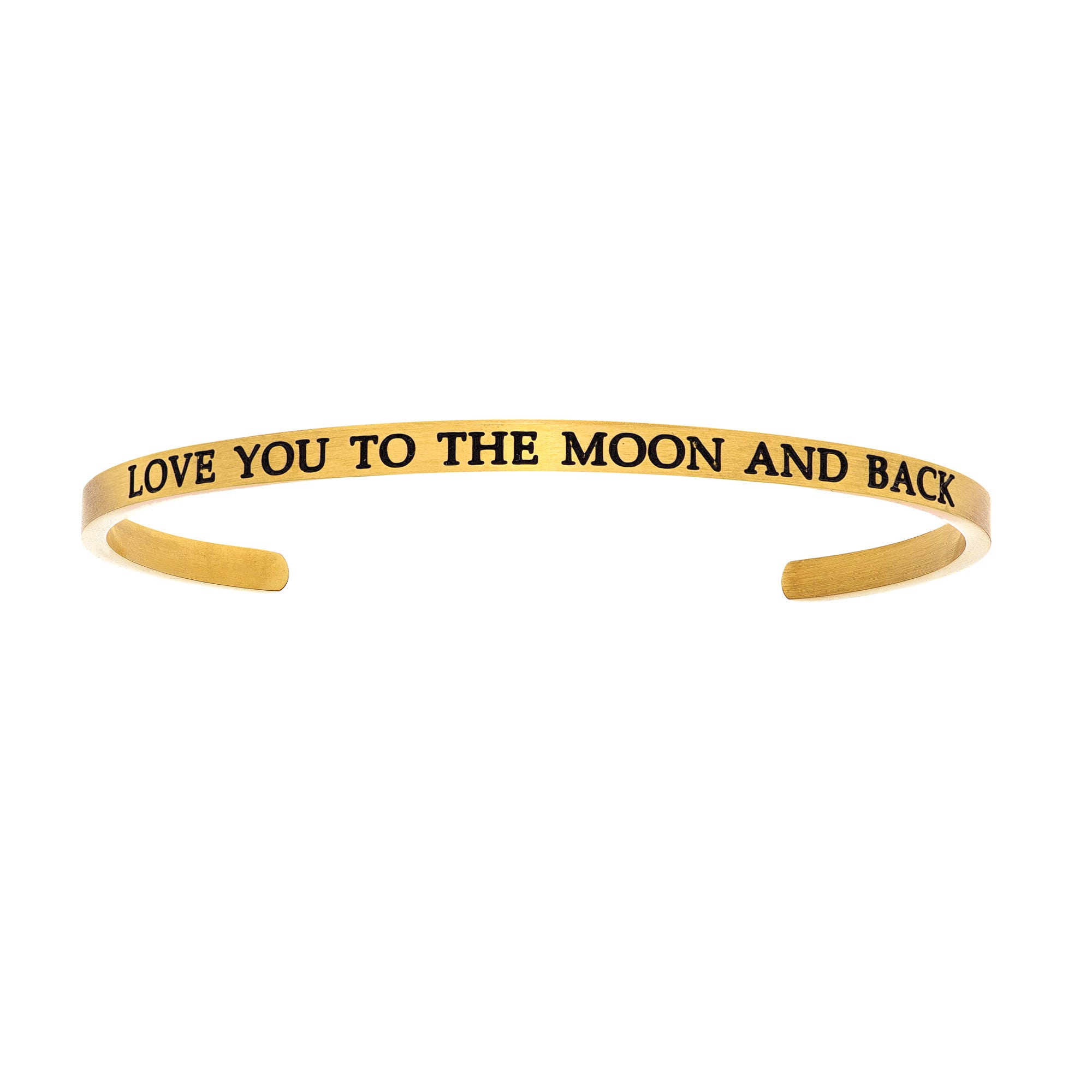 Love You To The Moon & Back. Intuitions Cuff Bracelet in Yellow Stainless Steel