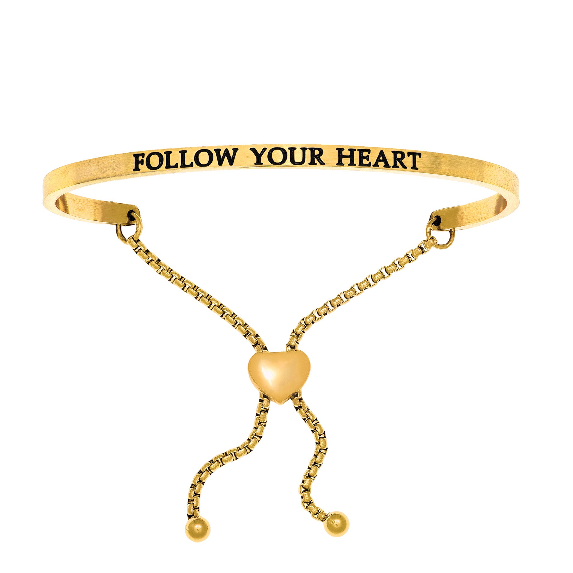 Follow Your Heart. Intuitions Bolo Bracelet in Yellow Stainless Steel