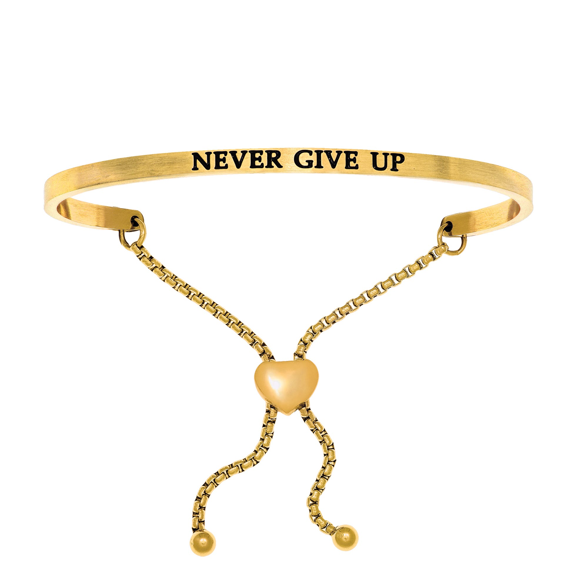 Never Give Up. Intuitions Bolo Bracelet in Yellow Stainless Steel