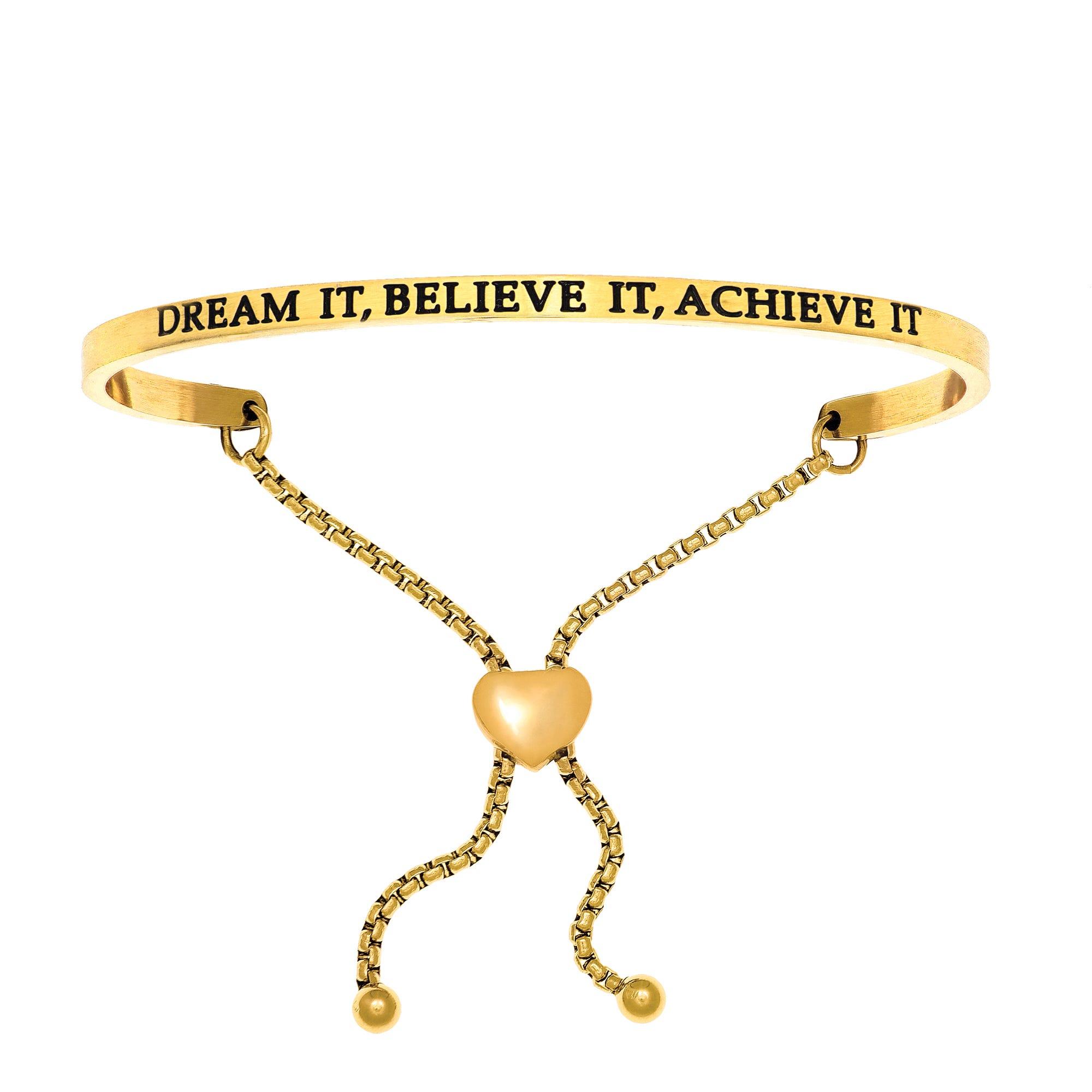 Dream It Believe It Achieve It. Intuitions Bolo Bracelet in Yellow Stainless Steel