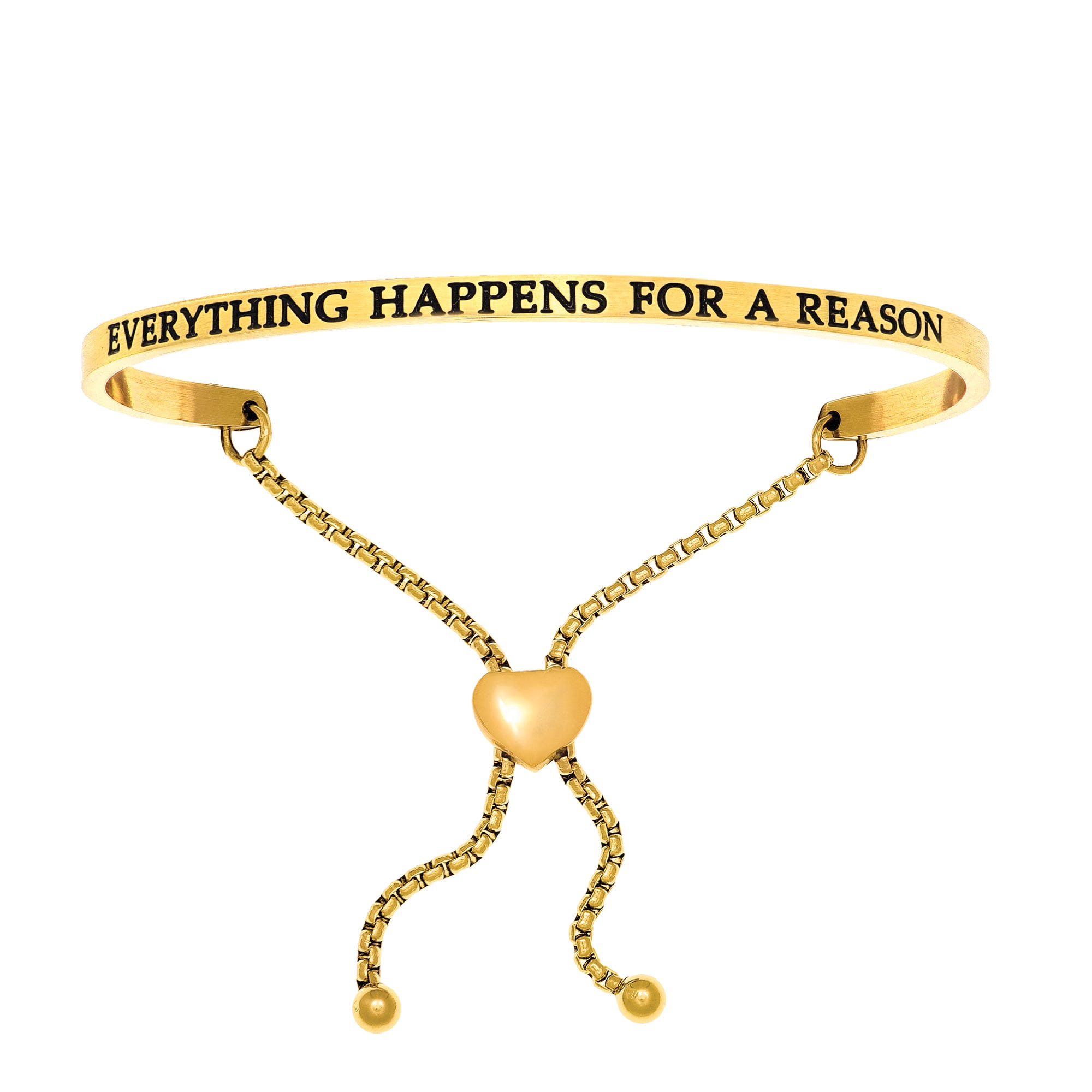 Everything Happens For A Reason. Intuitions Bolo Bracelet in Yellow Stainless Steel