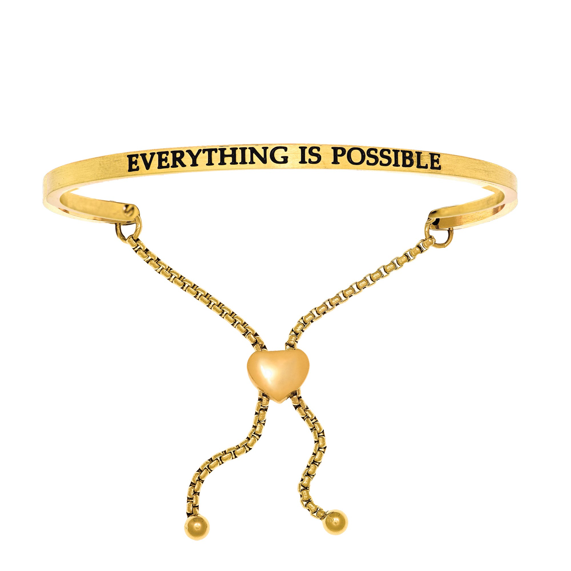 Everything Is Possible. Intuitions Bolo Bracelet in Yellow Stainless Steel