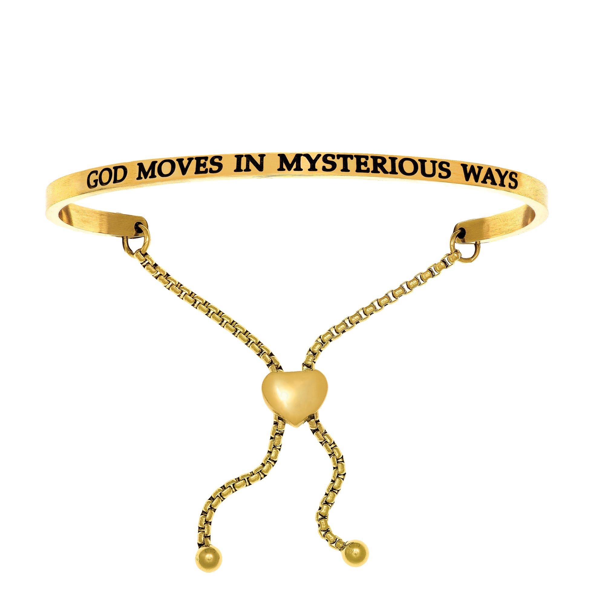 God Moves In Mysterious Ways. Intuitions Bolo Bracelet in Yellow Stainless Steel