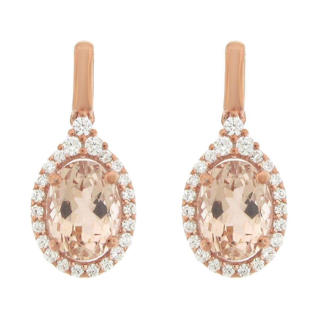 Oval Morganite Gemstone & Diamond Halo Drop Earrings in 10k Rose Gold