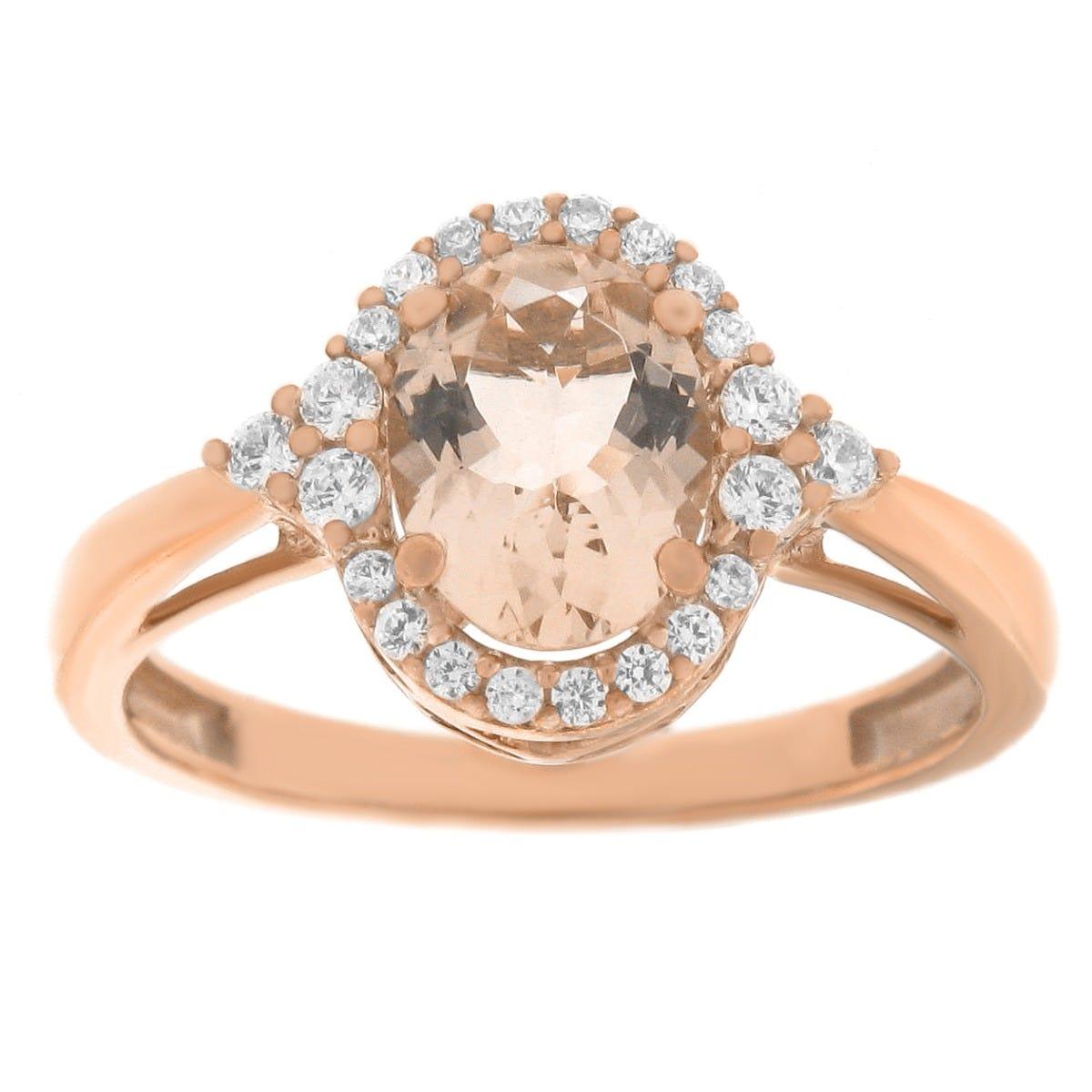 Oval Morganite Gemstone & Diamond Halo Ring in 10k Rose Gold
