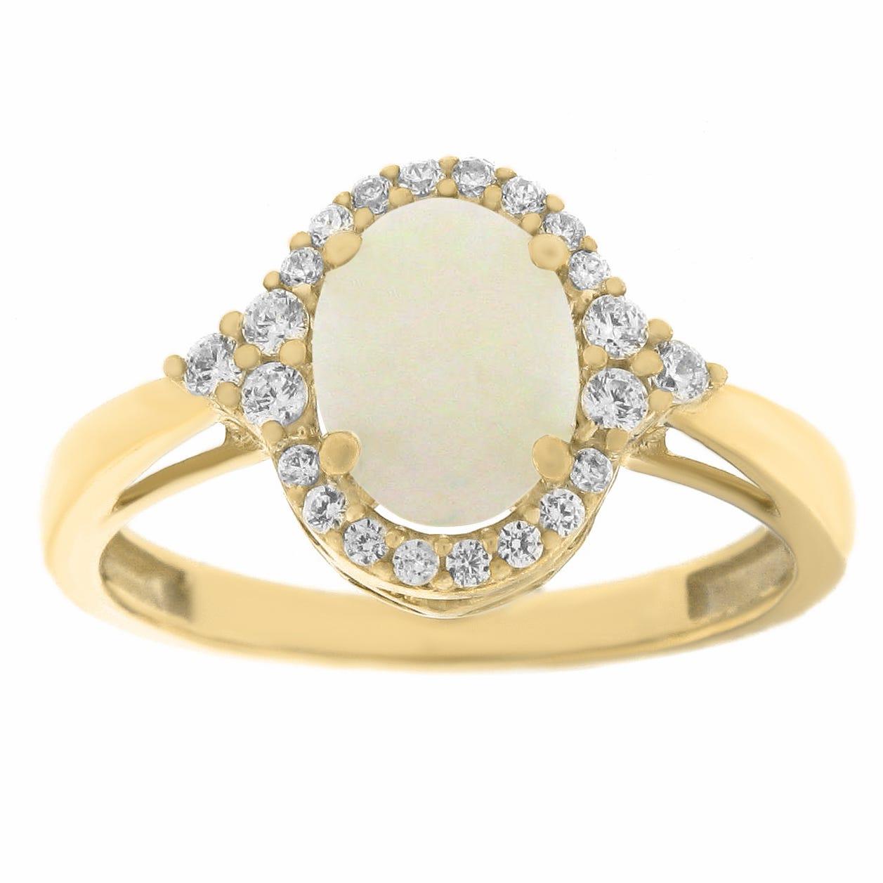 Oval Created Opal Gemstone & Diamond Halo Ring in 10k Yellow Gold
