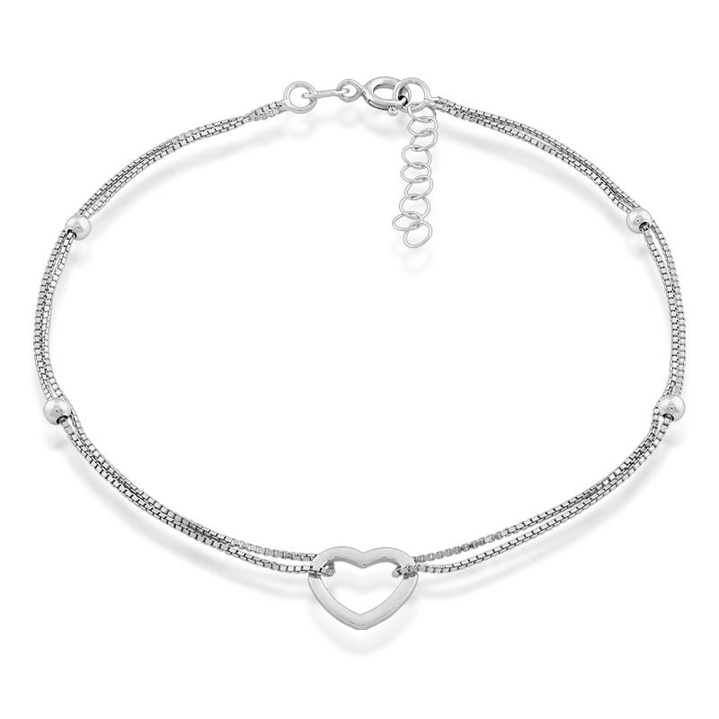 Double Strand Open Heart Anklet in Sterling Silver