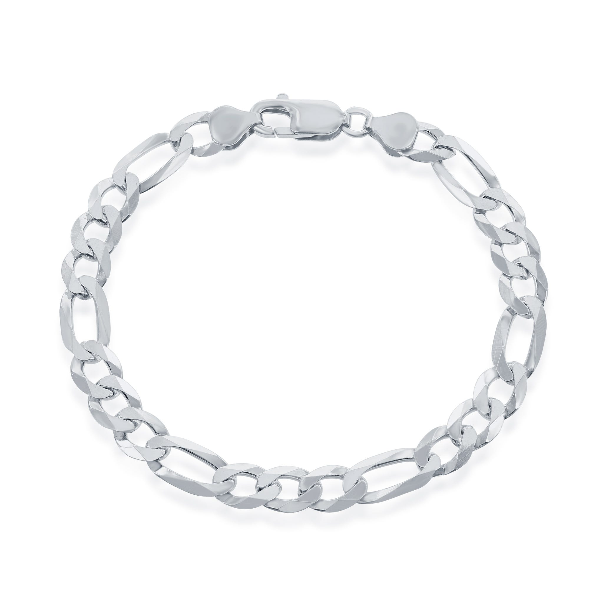 Figaro Chain Bracelet in Sterling Silver 9