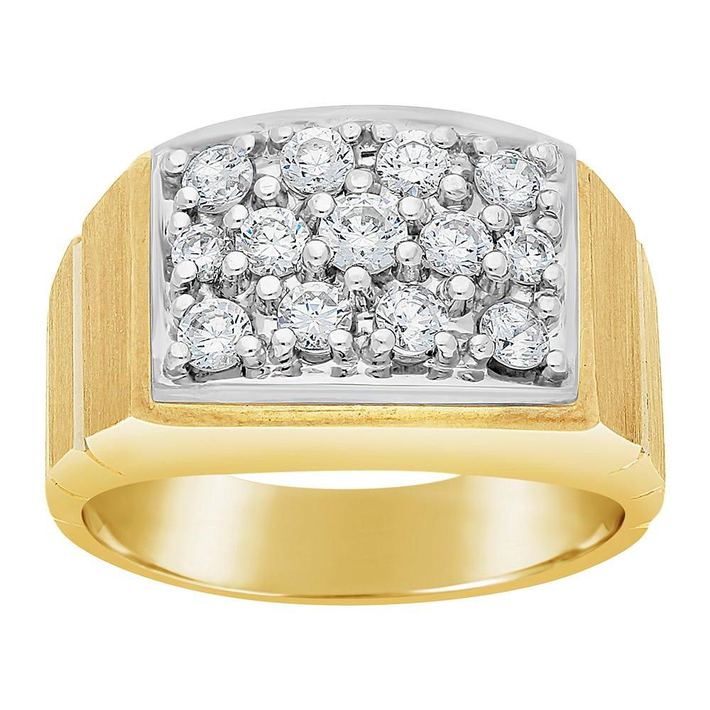 IBGoodman Men's Diamond Cluster 1ctw. Fashion Ring in 14k Yellow Gold