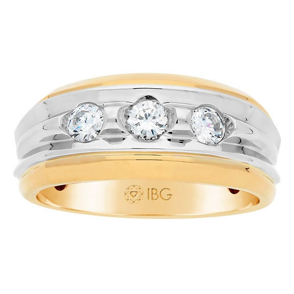 IBGoodman Men's 3-Stone Diamond Ring in 14k White & Yellow Gold