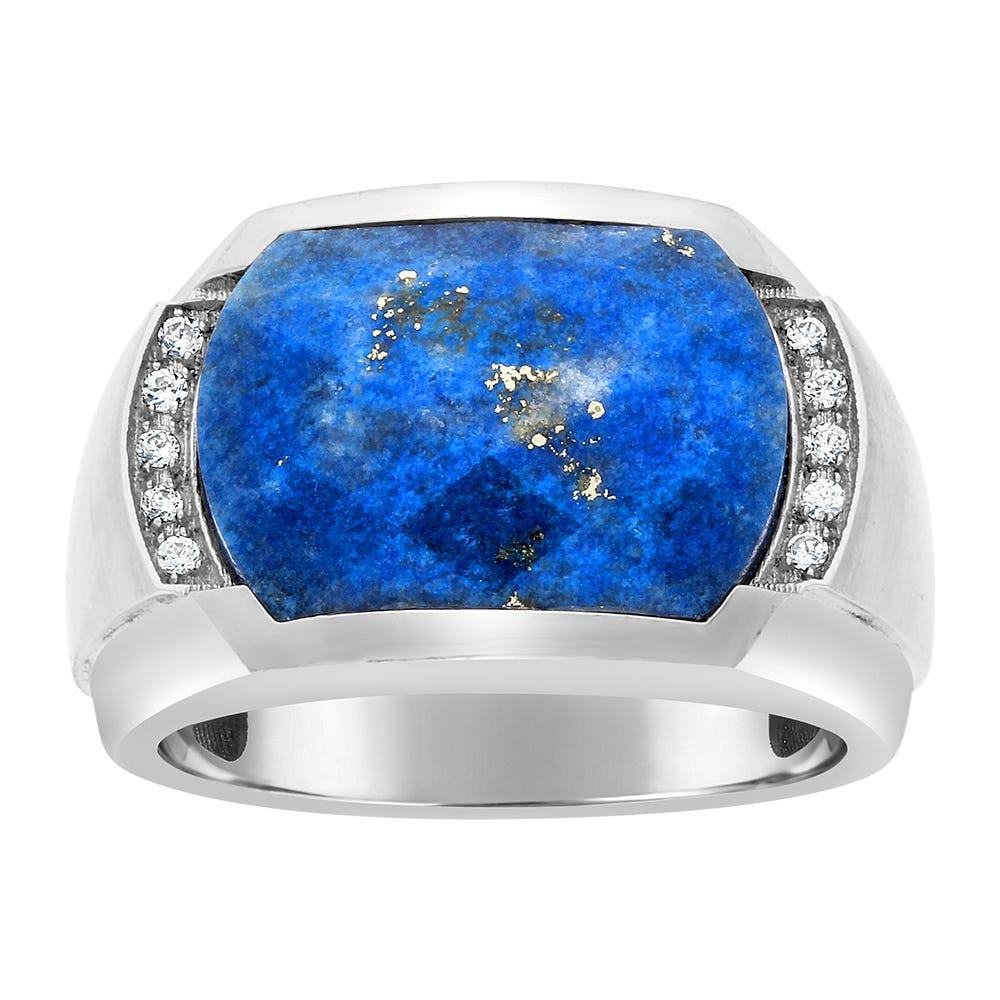 IBGoodman Men's Lapis Gemstone & Diamond Ring in Sterling Silver
