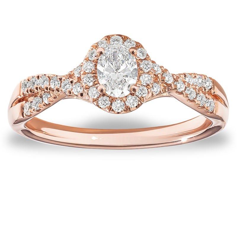 Amanda. Diamond Oval Twist Engagement Ring in 14k Rose Gold