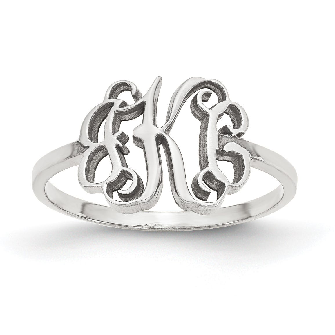 Laser Polished Script Monogram Ring in Sterling Silver (up to 3 letters)